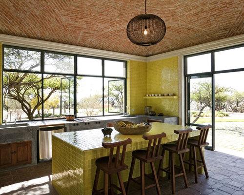 Mediterranean Kitchen Designs   Mediterranean Kitchen Idea In New York With  Tile Countertops And Green Backsplash