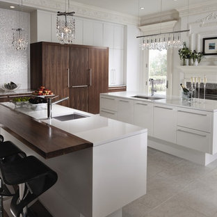Inspiration for a contemporary kitchen remodel in St Louis with an undermount sink, flat-panel cabinets, white cabinets and white backsplash