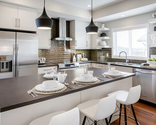 Example Of A Minimalist L Shaped Kitchen Design In Calgary With Flat Panel  Cabinets