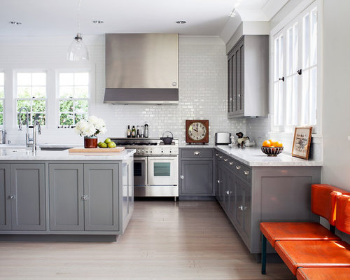 Gray cabinets houzz for Kitchen cabinets houzz