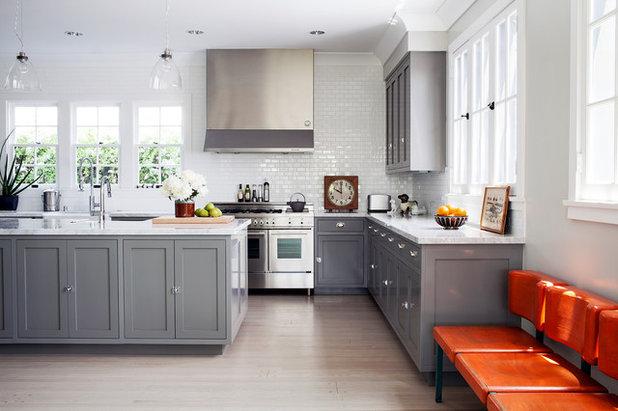 Gray Kitchens That Nail Warmth And Balance - Warm gray cabinets