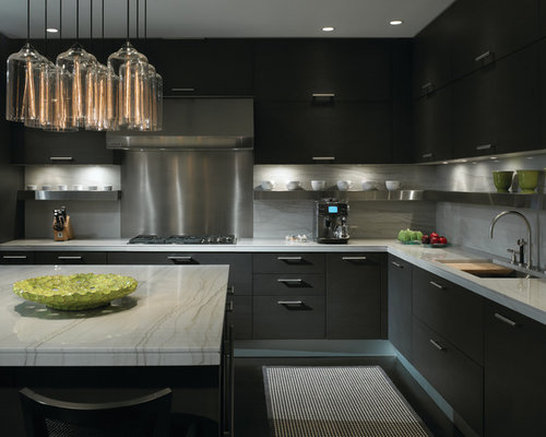 Black kitchen cabinets houzz for Black kitchen cabinets photos