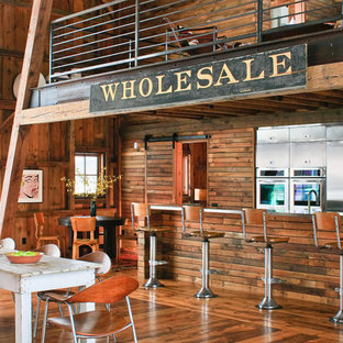 Inspiration for a rustic kitchen remodel in Detroit with stainless steel appliances