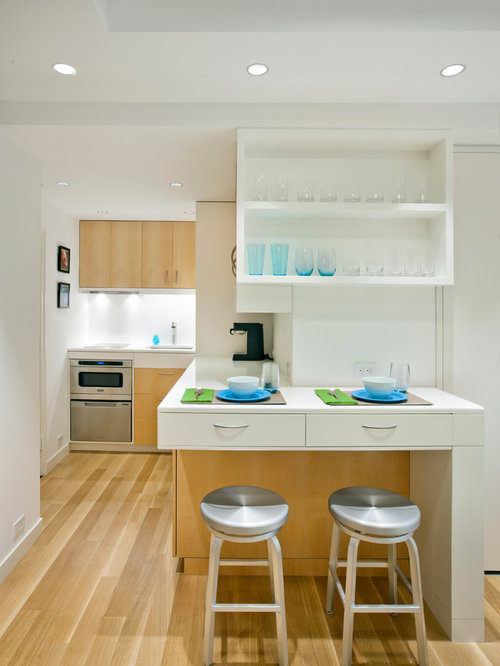 Small Scandinavian L Shaped Open Concept Kitchen Idea In New York With Open  Cabinets,