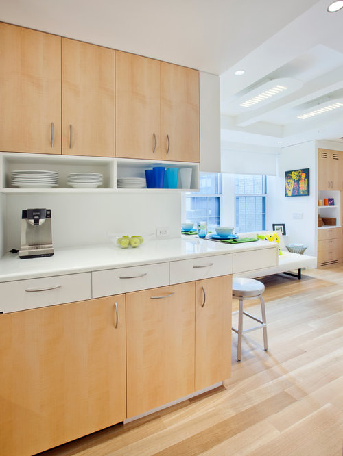 Under Counter Appliances Kitchen Part - 33: Small Danish L-shaped Light Wood Floor And Brown Floor Open Concept Kitchen  Photo In