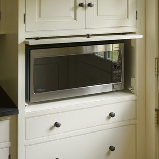 Example Of A Classic Kitchen Design In Boston With Beaded Inset Cabinets  And White Cabinets