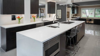 Microwave drawer and island seating add to the versatility of this island