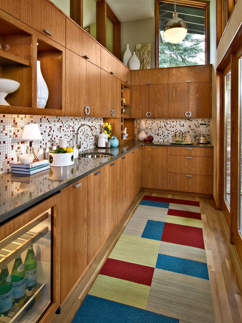 Midcentury Modern Enclosed Kitchen Designs   1960s Enclosed Kitchen Idea In  Minneapolis With Mosaic Tile Backsplash Part 60