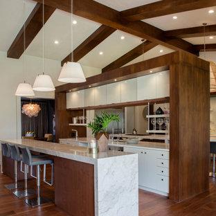 Zweizeilige, Große Moderne Küche mit Unterbauwaschbecken, flächenbündigen Schrankfronten, weißen Schränken, Rückwand aus Spiegelfliesen, Elektrogeräten mit Frontblende, braunem Holzboden, Kücheninsel, braunem Boden und weißer Arbeitsplatte in Orlando
