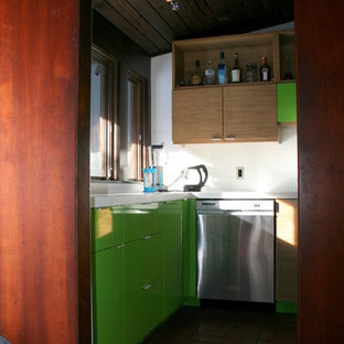 Mid-sized midcentury open plan kitchen in Chicago with brick floors.
