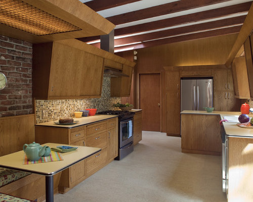 Mid Sized Midcentury Modern Enclosed Kitchen Pictures   Example Of A Mid Sized  1960s