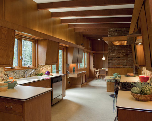 Exceptional Mid Sized Midcentury Modern Enclosed Kitchen Designs   Mid Sized Midcentury  Modern U