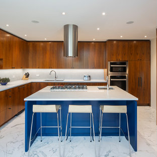 Design ideas for a large midcentury l-shaped separate kitchen in Other with a double-bowl sink, flat-panel cabinets, medium wood cabinets, quartz benchtops, white splashback, mosaic tile splashback, stainless steel appliances, marble floors, with island, white floor and white benchtop.