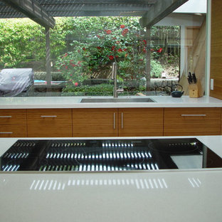 Mid-century modern kitchen inspiration - Inspiration for a 1960s kitchen remodel in San Francisco with a drop-in sink, flat-panel cabinets and medium tone wood cabinets
