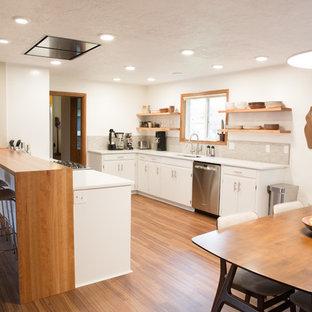 他の地域の中サイズのミッドセンチュリースタイルのおしゃれなキッチン (アンダーカウンターシンク、フラットパネル扉のキャビネット、白いキャビネット、珪岩カウンター、グレーのキッチンパネル、磁器タイルのキッチンパネル、シルバーの調理設備の、クッションフロア) の写真