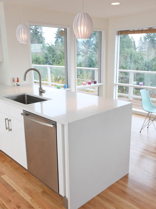 Large 1950s U Shaped Light Wood Floor Eat In Kitchen Idea In Seattle With