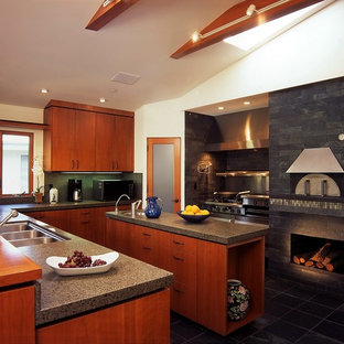 Photo of a midcentury kitchen in Los Angeles with granite benchtops and stainless steel appliances.