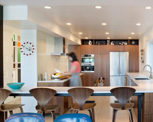 Superb Inspiration For A Modern U Shaped Cork Floor And Beige Floor Eat In Kitchen