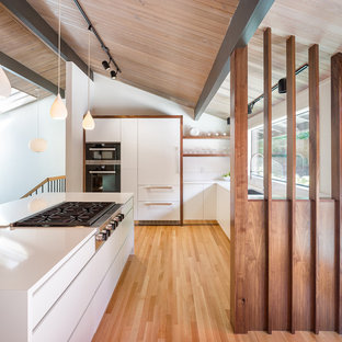 Mid-century modern kitchen appliance - Example of a 1950s l-shaped medium tone wood floor and multicolored floor kitchen design in Portland with an undermount sink, flat-panel cabinets, white cabinets, stainless steel appliances and an island
