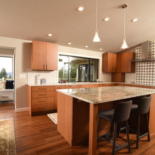Midcentury Modern Eat In Kitchen Remodeling Inspiration For A L Shaped