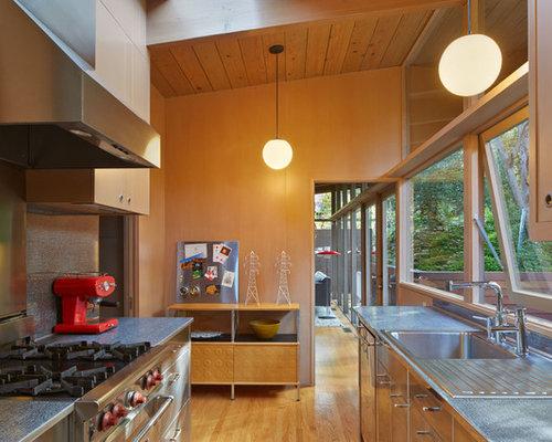 Cuisine r tro avec une fa ade en inox photos et id es for Facade cuisine inox