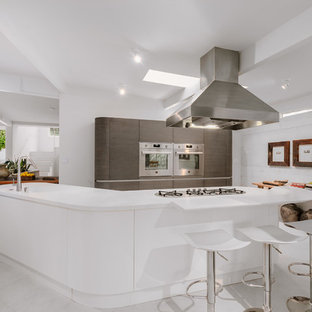 Large Midcentury Modern Open Concept Kitchen Ideas   Example Of A Large  Midcentury Modern Galley Open