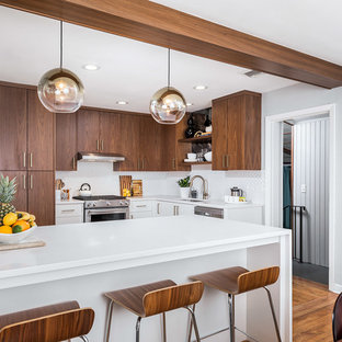 Small Midcentury Modern Enclosed Kitchen Inspiration   Inspiration For A  Small 1960s L Shaped Brown