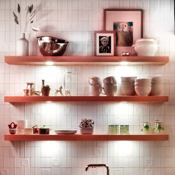 Mid Mod Kitchen Open Shelving