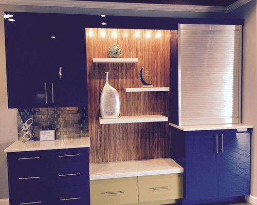 Inspiration For A Contemporary Galley Enclosed Kitchen Remodel In DC Metro  With Stainless Steel Cabinets,