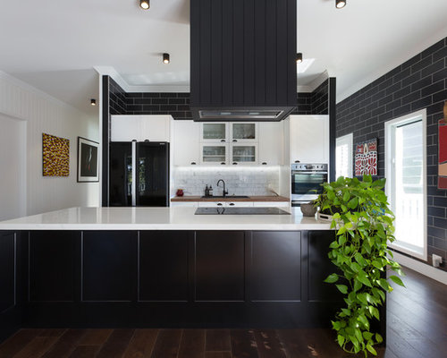 kitchen designs with black appliances. This is an example of a midcentury galley open plan kitchen in Sydney with  shaker cabinets Kitchen Design Ideas Renovations Photos Black Appliances