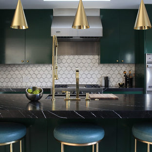 Mid-century modern kitchen remodeling - Kitchen - mid-century modern kitchen idea in Los Angeles with flat-panel cabinets, green cabinets and an island
