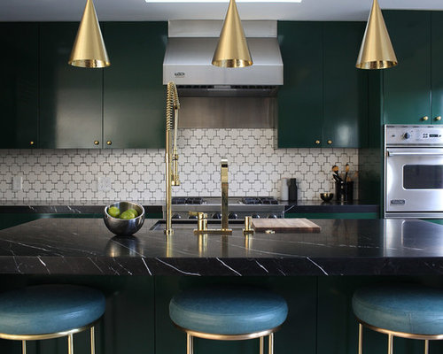 Dark green cabinets ideas pictures remodel and decor - Dark green kitchen cabinets ...
