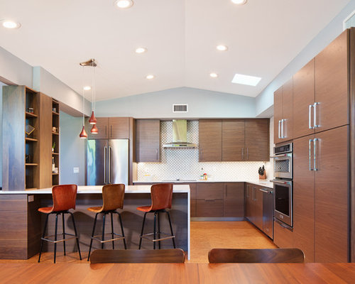 mid century modern galley kitchen. Midcentury Modern Open Concept Kitchen Remodeling - Galley Medium Tone Wood Floor And Brown Mid Century S