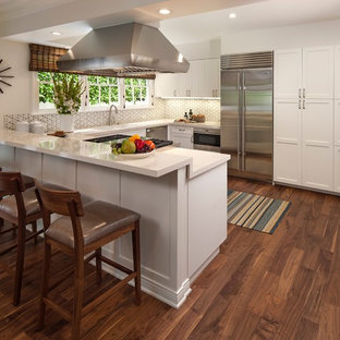 Transitional kitchen remodeling - Kitchen - transitional u-shaped dark wood floor and brown floor kitchen idea in Los Angeles with shaker cabinets, white cabinets, stainless steel appliances, a peninsula, multicolored backsplash and an undermount sink
