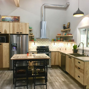 Industrial Eat In Kitchen Ideas   Inspiration For An Industrial L Shaped  Medium Tone