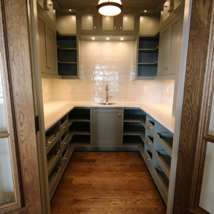 Transitional kitchen pantry ideas - Example of a transitional dark wood floor kitchen pantry design in Orange County with an undermount sink, open cabinets, green cabinets, quartz countertops and white backsplash