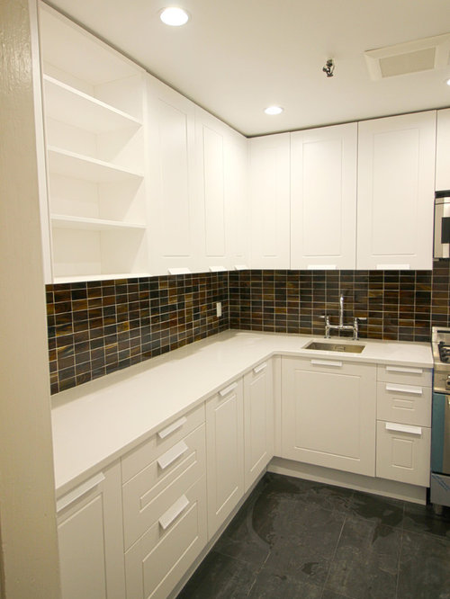 ... New York City Transitional kitchen cabinets White lacquer raised panel