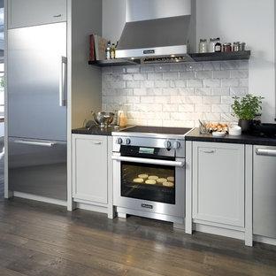 フィラデルフィアのインダストリアルスタイルのおしゃれなキッチンの写真