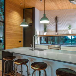Small contemporary single-wall open plan kitchen in Tampa with an integrated sink, flat-panel cabinets, white cabinets, concrete benchtops, window splashback, stainless steel appliances, light hardwood floors, a peninsula, multi-coloured floor and grey benchtop.