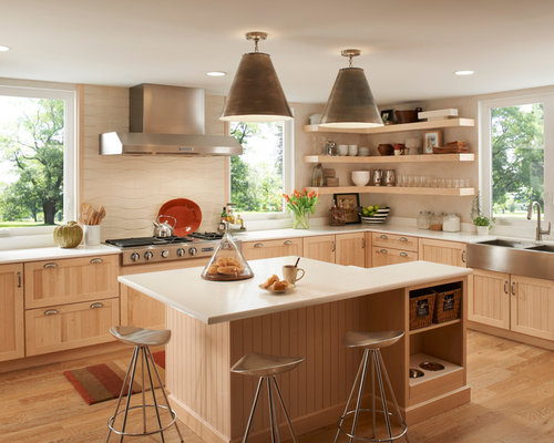 ... in Other with a farmhouse sink, open cabinets and light wood cabinets