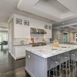 Inspiration för mycket stora moderna grått kök, med vita skåp, rostfria vitvaror, mörkt trägolv, en köksö, brunt golv, en rustik diskho, skåp i shakerstil, bänkskiva i kvarts, flerfärgad stänkskydd och stänkskydd i marmor
