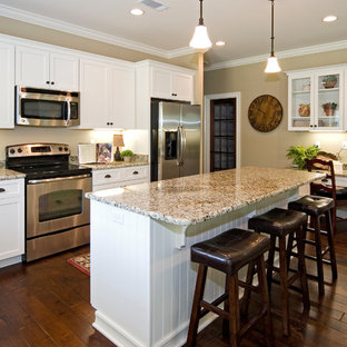 Elegant Kitchen Photo In Miami With An Undermount Sink, Recessed Panel  Cabinets, White