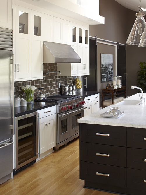 Dark cabinets white appliances houzz for Chocolate kitchen cabinets with stainless steel appliances