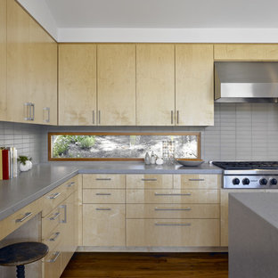Example Of A Large Minimalist Medium Tone Wood Floor Kitchen Design In San Francisco With Stainless