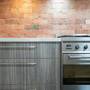 メルボルンの小さいコンテンポラリースタイルのおしゃれなキッチン (アンダーカウンターシンク、フラットパネル扉のキャビネット、ベージュのキャビネット、御影石カウンター、赤いキッチンパネル、シルバーの調理設備の、濃色無垢フローリング、レンガのキッチンパネル) の写真