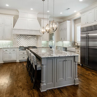 Elegant Dark Wood Floor Kitchen Photo In Dallas With A Farmhouse Sink,  White Cabinets,