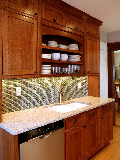 Red Kitchen With Glass Tile Backsplash Design Ideas Remodel Pictures Houzz