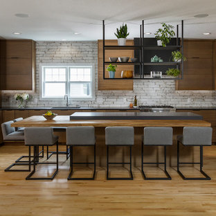 75 Beautiful Kitchen With Brown Cabinets And Black Countertops Pictures Ideas December 2020 Houzz
