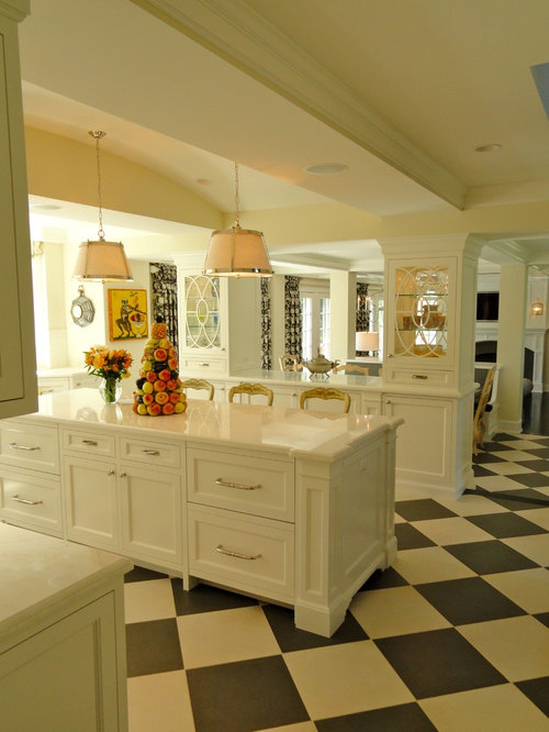 Elegant Kitchen Photo In Minneapolis With Glass Front Cabinets And White  Cabinets