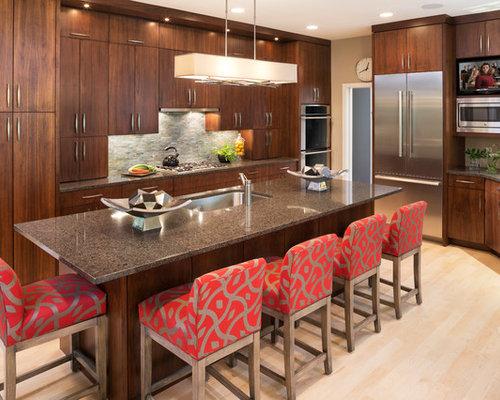 Kitchen   Contemporary Light Wood Floor Kitchen Idea In Minneapolis With An  Undermount Sink, Flat
